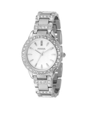 Fossil Women's Ladies Mid Size Round Silver Bracelet - Silver - One Size