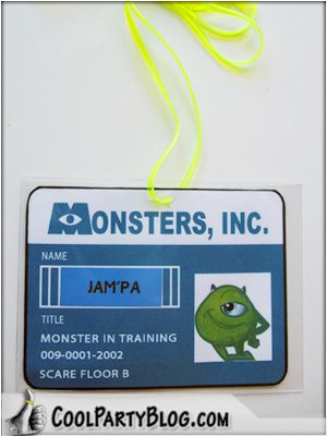 love this idea for each kid for a monsters inc party