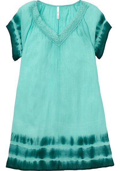 Batik Kleid mit kurzen Ärmeln und Rundhalsausschnitt in türkis und blau aus leichtem Crepestoff.
