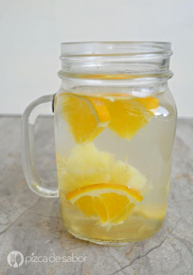 Agua con jengibre, piña y naranja (agua infusionada) www.pizcadesabor.com