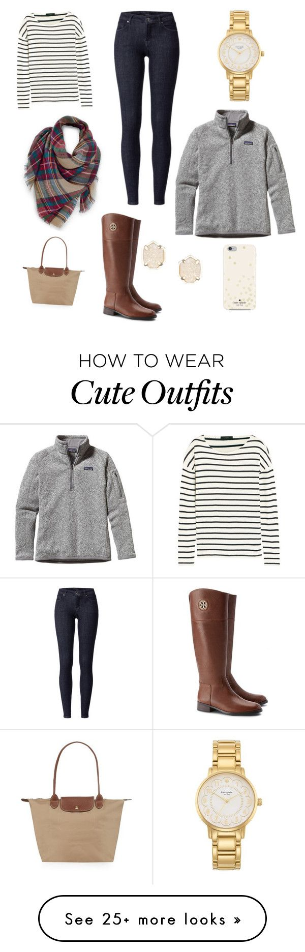 """""""Cute Fall/winter outfit"""" by elizabethcoleman04 on Polyvore featuring J.Crew, Venus, Kate Spade, Patagonia, Longchamp, Tory Burch and Kendra Scott"""