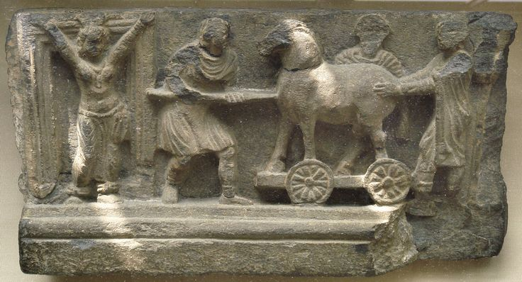 Trojan horse relief and Cassandra at Troy gate, Gandhara art