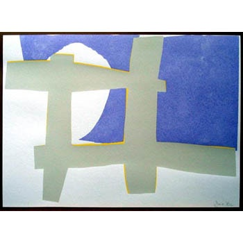 from The Cambridge Suite by Sandra Blow, 2004  SOLD    Silkscreen with collage  edition of 125  paper 1195 x 915 mm