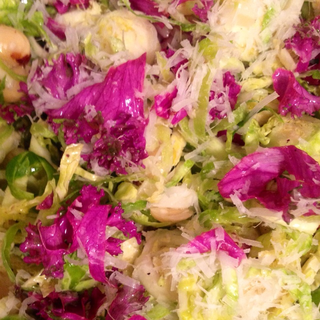 Purple Kale's new buddies: Shredded Brussels Sprouts, Pecorino ...