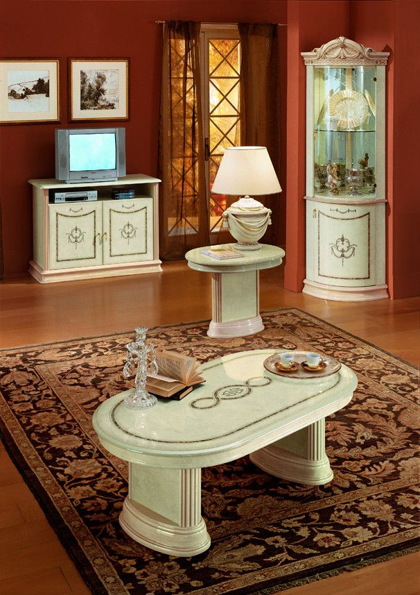 Modrest Rossella Italian Traditional Coffee Table. Traditional Italian bed in beige color Dimensions:  Color: Off-White Finish:  Glossy -