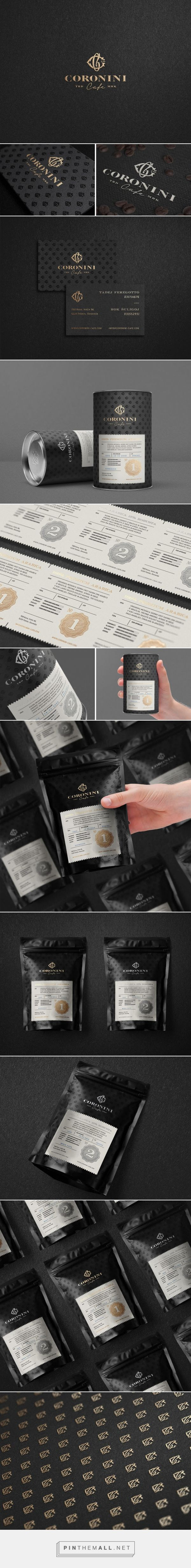 Coronini Cafe Coffee packaging designed by Milovanović (Slovenia) - http://www.packagingoftheworld.com/2016/02/coronini-cafe.html I really like this packaging, its subtle and highly aesthetically pleasing. the regal qualities that it has would appeal to achievers greatly. the mat black effect looks luxurious against the golden logo