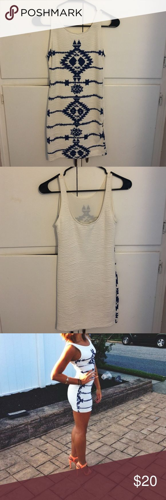 Blue and white bodycon dress White bodycon with a blue design, high neck and very stretchy material Dresses Mini