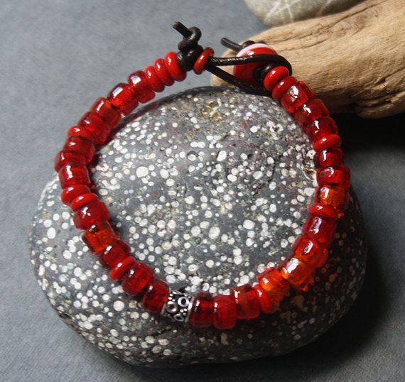 Glass Bracelet  Bright Red Color  Lightweight by LikeAGlassShop