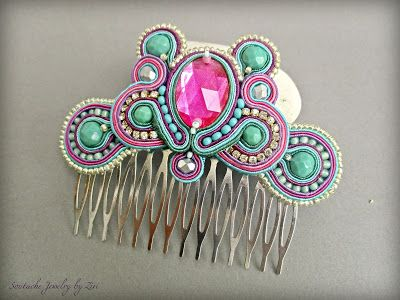 El Rinconcito de Zivi: Conjunto Bisuteria Soutache Flamenca Pendientes y Peinas, Conjunto Flamenca Fucsia-Turquesa-Morado, Conjunto Flamenca Soutache- Set Soutache Jewelry Earrings and Hair Comb