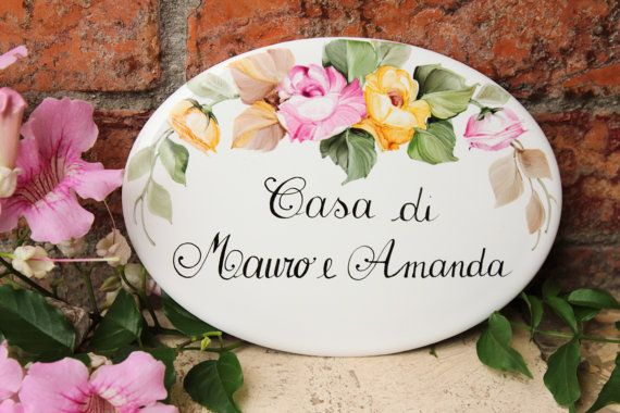 Custom porcelain flowers House plaque/ House sign/ Custom address plaque/ Family name sign/ Outdoor sign/ Housewarming gift
