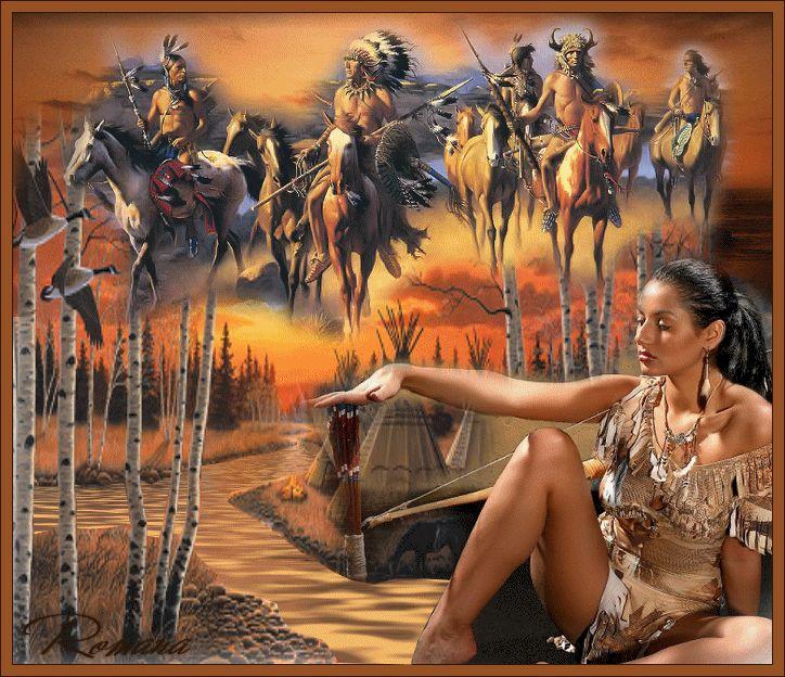 Анимация Красивая девушка на фоне реки и деревьев с луком и стрелами на фоне индейцев на лошадях / Романа/