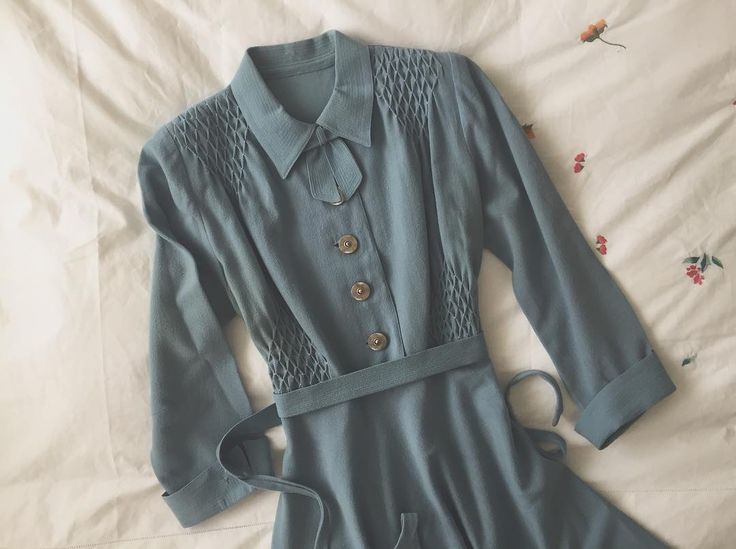 1940s duck egg blue wool dress, from Ida Cathrine (@idacath) on Instagram. #truevintage