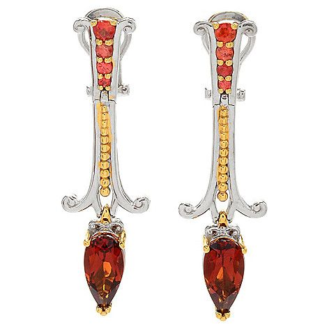 "157-614 - Gems en Vogue 1.5"" 2.40ctw Madeira Citrine & Orange Sapphire Drop Earrings"