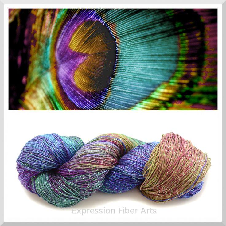 Expression Fiber Arts - PEACOCK FEATHER - Sparkle Silk Yarn - Fingering Wt. 95-100 g/ 474 yd, $35.00 (http://www.expressionfiberarts.com/products/peacock-feather-sparkle-silk-yarn-fingering-wt-95-100-g-474-yd.html)