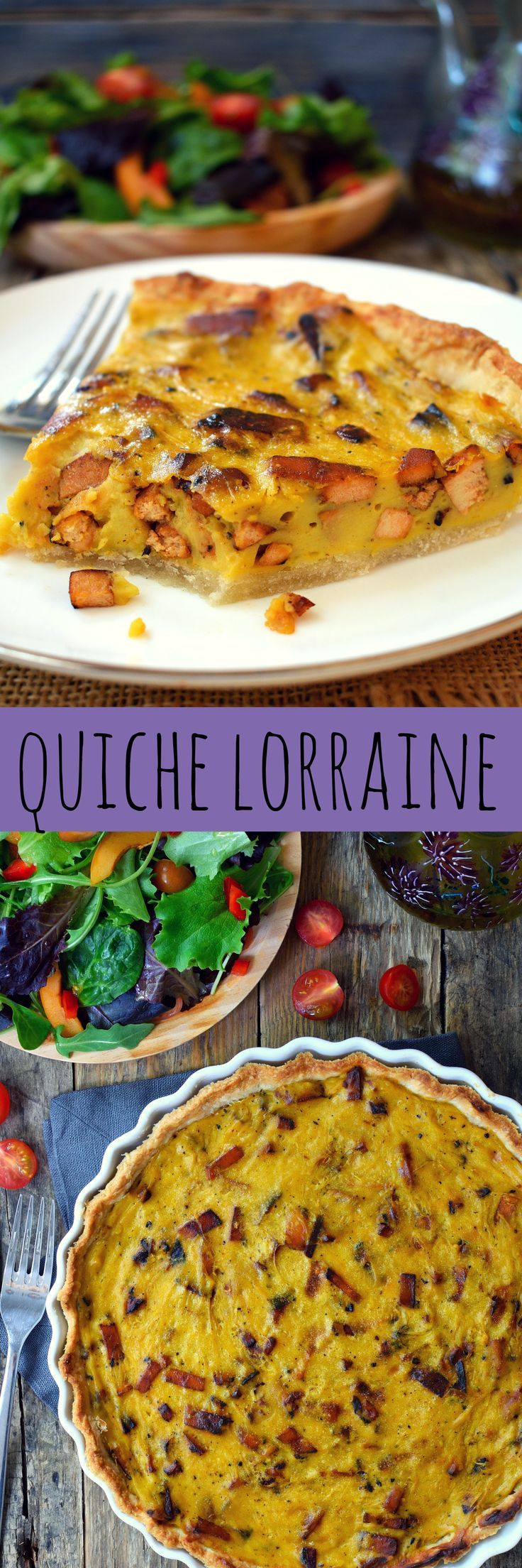 Vegan quiche Lorraine made from chickpea flour and smoky tofu bacon. Deliciously savory and satisfying and great for a Sunday brunch.
