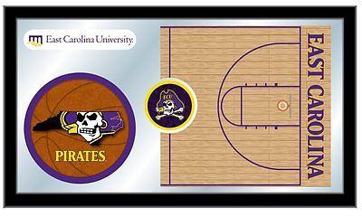 "East Carolina Pirates HBS Basketball Framed Hanging Glass Wall Mirror (26""x15"")"