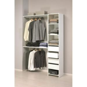 100e  Kit placard blanc 4 rayons, 2 penderies, 4 tiroirs. A monter soi même. A usage domestique.