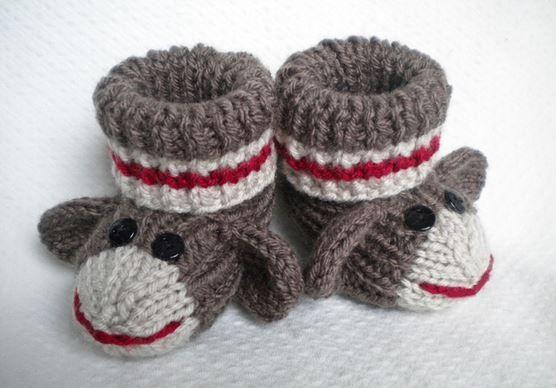 sock monkey booties
