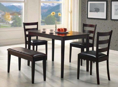 5pc Dining Set in Cappucino Finish - Coaster 150232 by Coaster Home Furnishings. Save 59 Off!. $256.56. Rich Cappuccino. 1 x Bench. 3 x Side Chair. Solid Construction. 1 x Dining Table. This Dining Set by Coaster includes a rectangular top table, three side chairs and a 36 bench in cappuccino finish. Chairs and bench feature cushioned seats, wrapped in a durable leather-like vinyl. This alternative dining table is the ultimate ideal piece for any dining room.5pc Dining Set Dime...