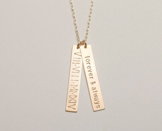 Personalized Meaningful Gift / Custom Necklace, 2 Bars / Simple Vertical Bar Necklace / Roman Numeral Necklace / Wedding Gift  / LN101v