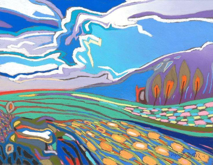 """Tableau """"Coupe de campagne"""" de Vincent Dufour (Pastel sec 47/60cm). Découvrez tous les tableaux """"Figuration libre"""" disponibles sur http://www.vincentdufour.com/fr/29-figuration-libre # peinture, paysage"""