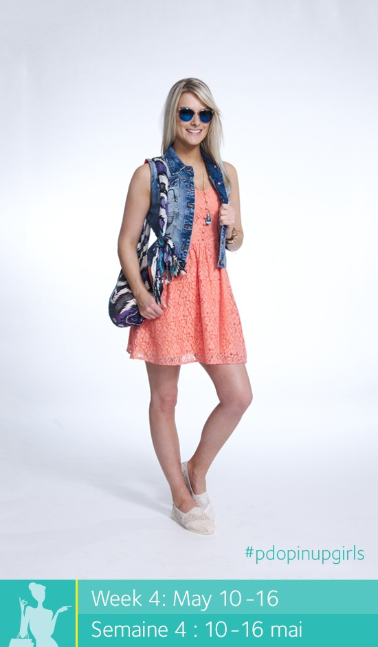 Enter to win a $500 shopping spree at Place d'Orléans at www.facebook.com/placedorleans #pdopinupgirls @Tonya Place d'Orleans @Cherry Mak Stores. Get this look at Boathouse! Dress, denim vest, scarf, bracelets, shoes, Nixon watch and sunglasses.