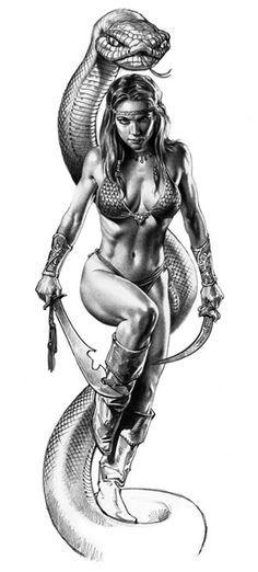 Boris Vallejo: Amazon and Serpent.