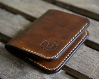 Leather Wallet Mens Wallet Bi-Fold Wallet by WildFootLeather