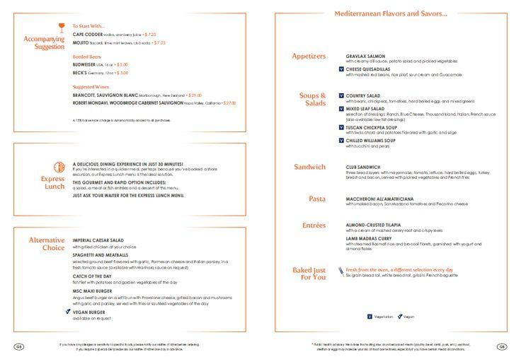 #MSCDivina Lunch Menu *Subject to Change*