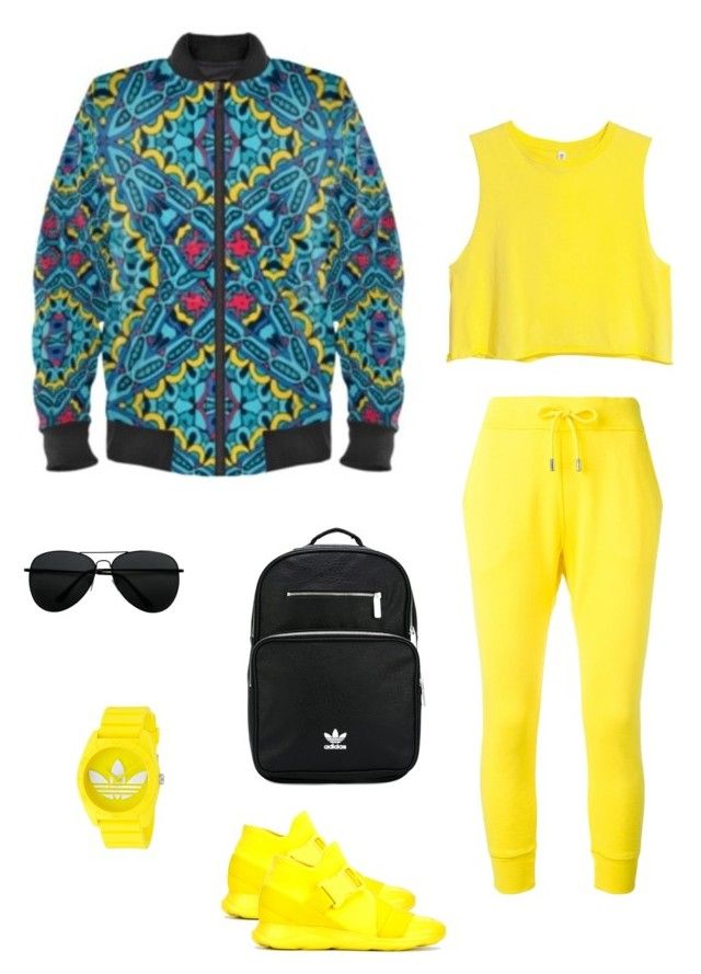 """""""Four corners"""" jacket ootd by guutanii on Polyvore featuring polyvore, fashion, style, Dsquared2, Christopher Kane, adidas and clothing"""