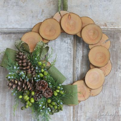 Wood slice & Burlap Christmas Wreath