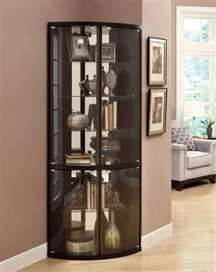 casual brown wood and glass curio cabinet