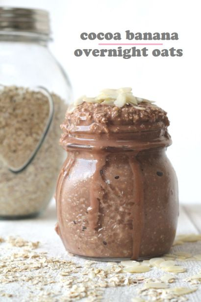 The easiest and tastiest Overnight Oats recipe in the world with cocoa, banana, yogurt and milk!