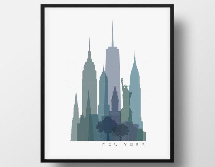 New York Skyline transparente Monochrome Farbe digitale Bild - Galerie Wandkunst - PDF, PNG-Bilder.   ~ ~ Sofortiges Download ~ ~ ~ ~ Wasserzeichen erscheint nicht auf heruntergeladene Bilder ~ ~   Diese Farbe-Skyline sieht großartig aus gedruckt und gerahmt. Aber es kann auch verwendet werden, auf Becher und Tassen, T-shirts, Poster, Visitenkarten, Glückwunschkarten, Wände der Galerie oder was immer Sie wollen! Kontaktieren Sie mich für Anpassung Anforderungen. Diese Skyline ist in jeder…