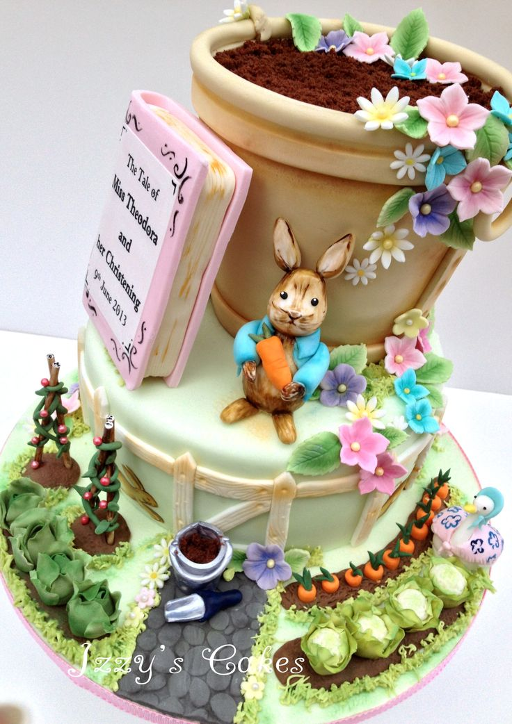 Beatrix Potter themed christening cake, decorated with sugar Peter Rabbit and Jemima Duck, sugar vegetable patch and handpainting