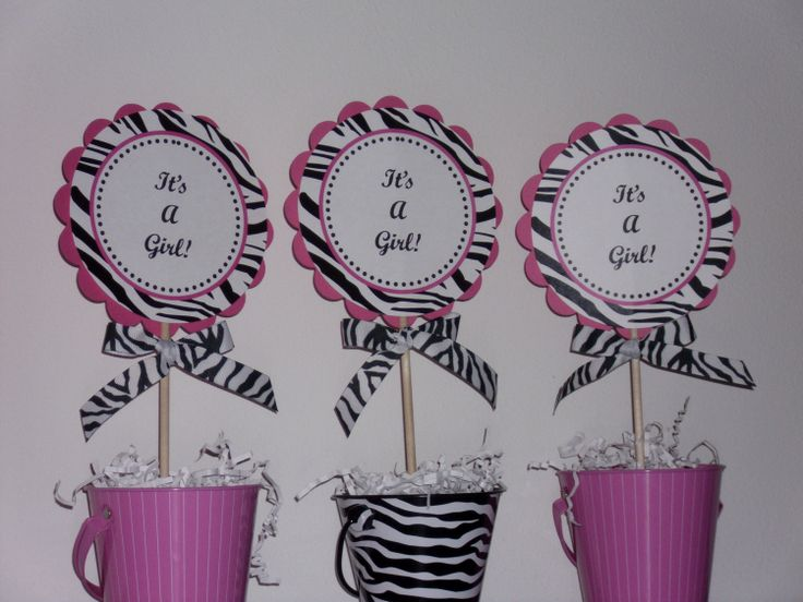 Hot Pink And Zebra Centerpieces | Its A Girl Hot Pink and Zebra Centerpiece Decoration Picks-Set of 3