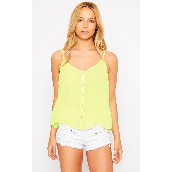 Mara Lime Button Up Cami ($6.48) ❤ liked on Polyvore featuring green, lime green cami, green cami, lime green camisole, green camisole and yellow cami