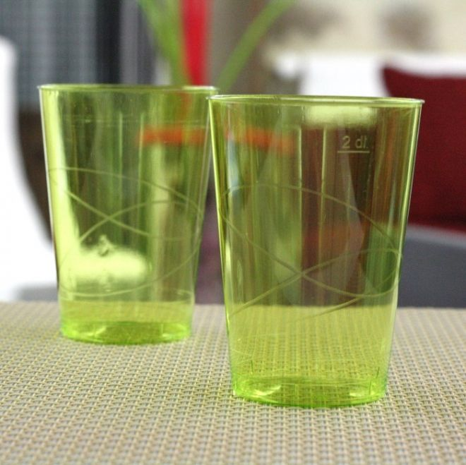 Verres plastique vert - Vaisselle Jetable Discount