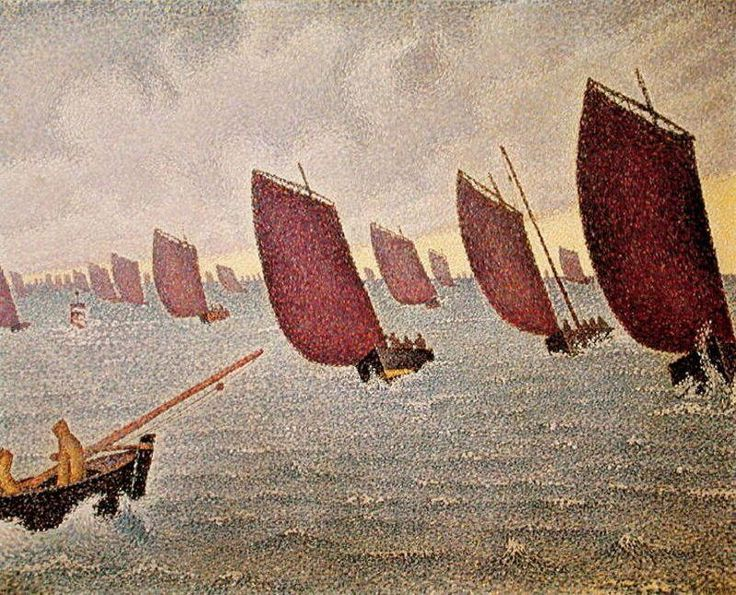 Breeze, Concarneau, Oil by Paul Signac (1863-1935, France)