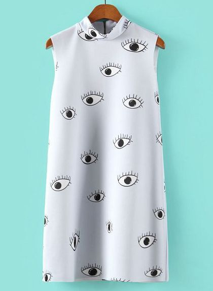 Light Blue Stand Collar Eyes Print Straight Dress - Fashion Clothing, Latest Street Fashion At Abaday.com