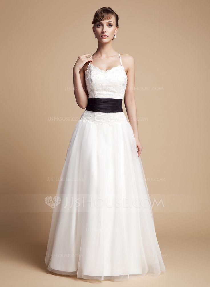 Corte A/Princesa Escote en V Hasta el suelo Tafetán Tul Encaje Vestido de novia con Volantes Fajas Bordado Lazo(s) (002000131) - JJsHouse