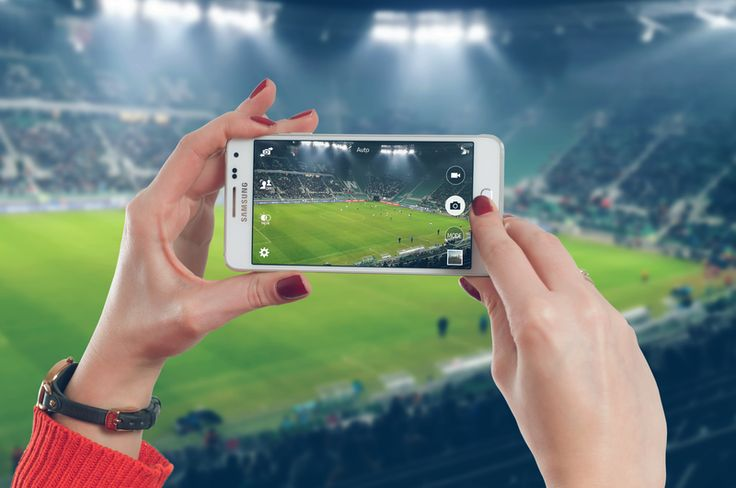 Woman uses mobile of the football stadium . #free #psd #digital #mockup #mobile #android #samsung #people #places #web #technology #community #