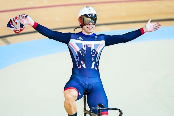 Man one Philip Hindes celebrates the team sprint trio's success, which kickstarted a brilliant week for the British track team (pic: Alex Whitehead/SWpix.com)