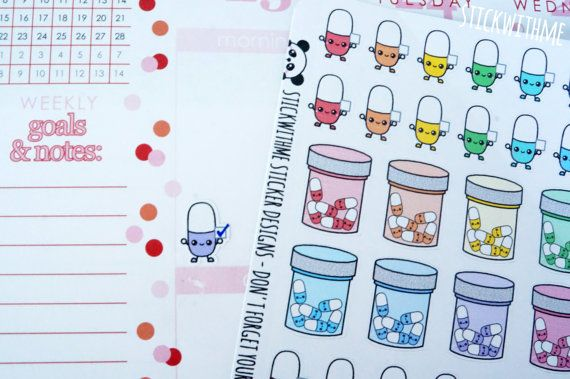 Pills/Vitamins PLANNER STICKERS SWM29 by STICKWITHMEshop on Etsy