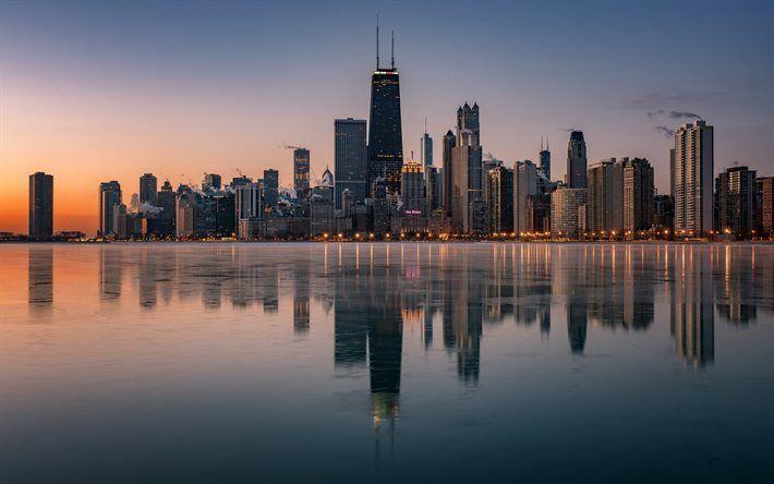 Scarica sfondi La Willis Tower di Chicago, il Lago Michigan, USA, grattacieli, Illinois