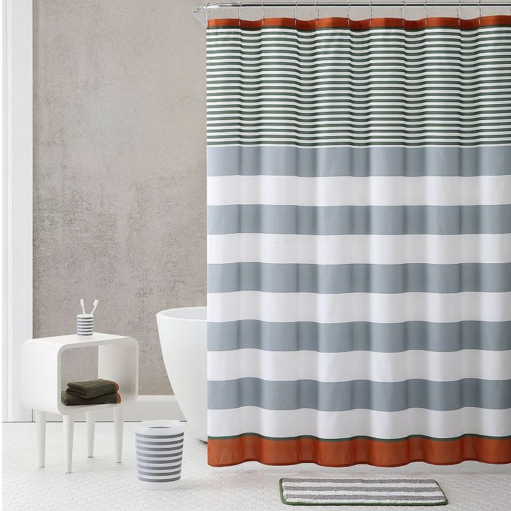 Vcny Stripe Shower Curtain & Accessories Bath Set, Multicolor