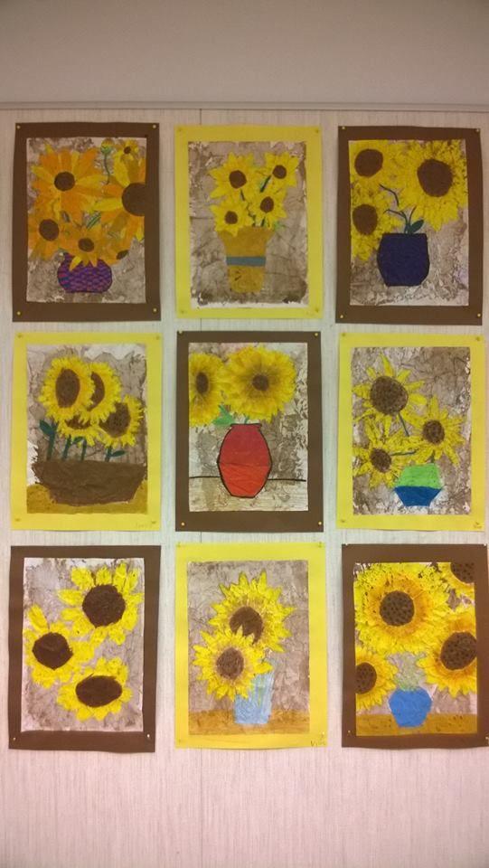 """Van Goghin aurin 1) Luokassa mallina auringonkukkia ja jäljennös Van Goghin teoksesta 3) Vahaliiduilla oma näkemys monistuspaperille (taustaa ei väritetä) 4) Paperi rypistetään palloksi. Työ avataan ja silitellään ennen maalausta 5) Työ maalataan nopeasti pullovärillä kauttaaltaan ruskeaksi """"puolihuolimattomasti"""" 6) Työ kastellaan lavuaarissa juoksevan veden alla = huuhdellaan pulloväri pois 7) Annetaan kuivua 8) Liimataan taustapaperille - valmis! (Pauliina Laine / Alakoulun aarreaitta)"""