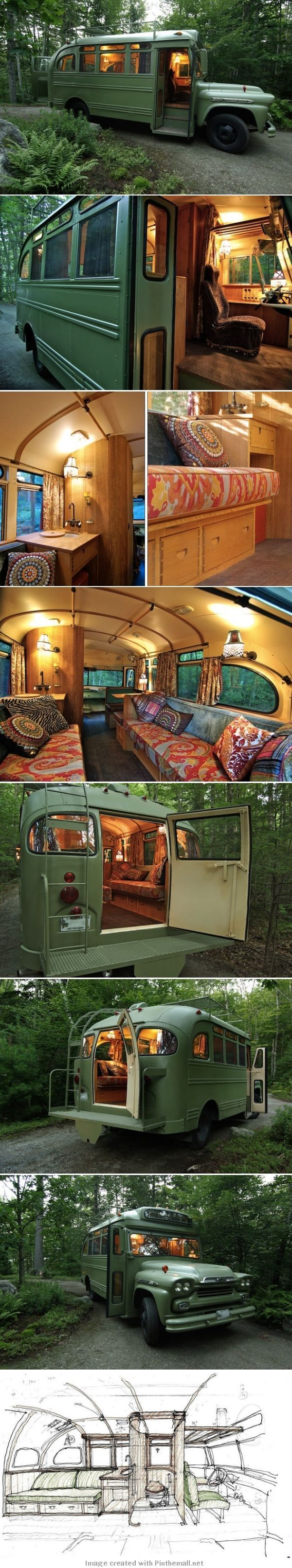1960s Chevy bus to camper conversion - created via
