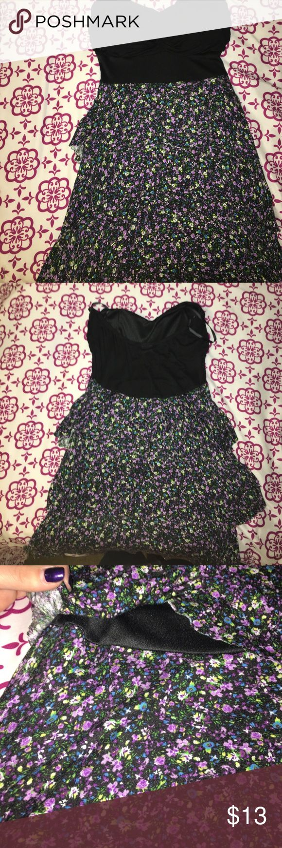 Beautiful Floral Strapless Spring Dress Strapless floral dress with a  slightly padded chest! Super cute pattern and layered flowing style! Flattering dress on anyone! Deb Dresses Strapless