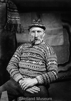 Old photos of Fair Isle sweaters, taken from the Shetland Museum.